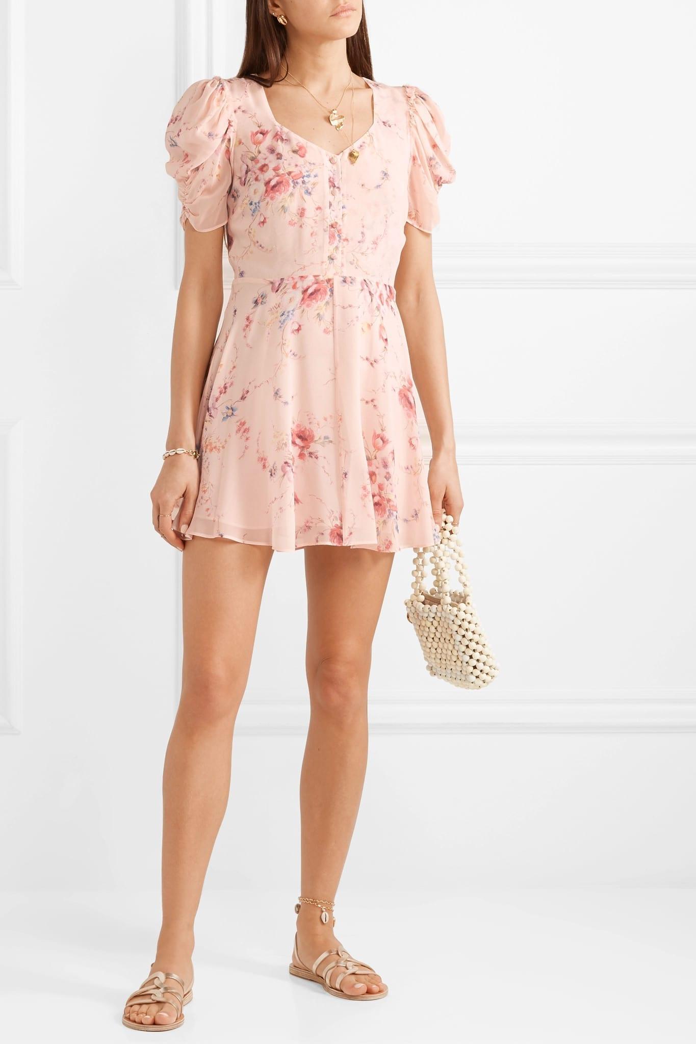 LOVESHACKFANCY Cora Floral-Print Silk-Georgette Mini Pink Dress
