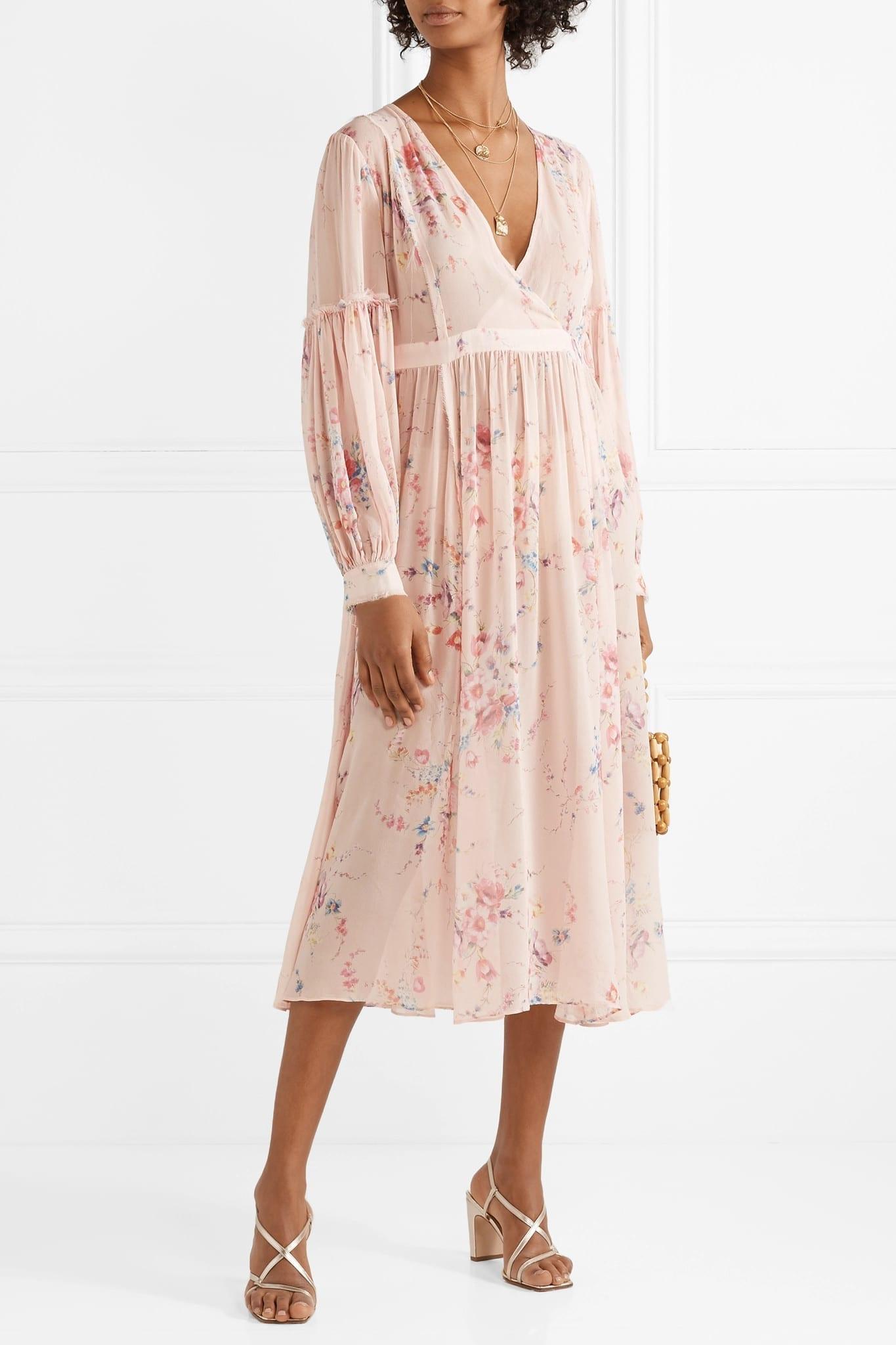 LOVESHACKFANCY Leah Frayed Floral-Print Silk-Georgette Midi Pink Dress