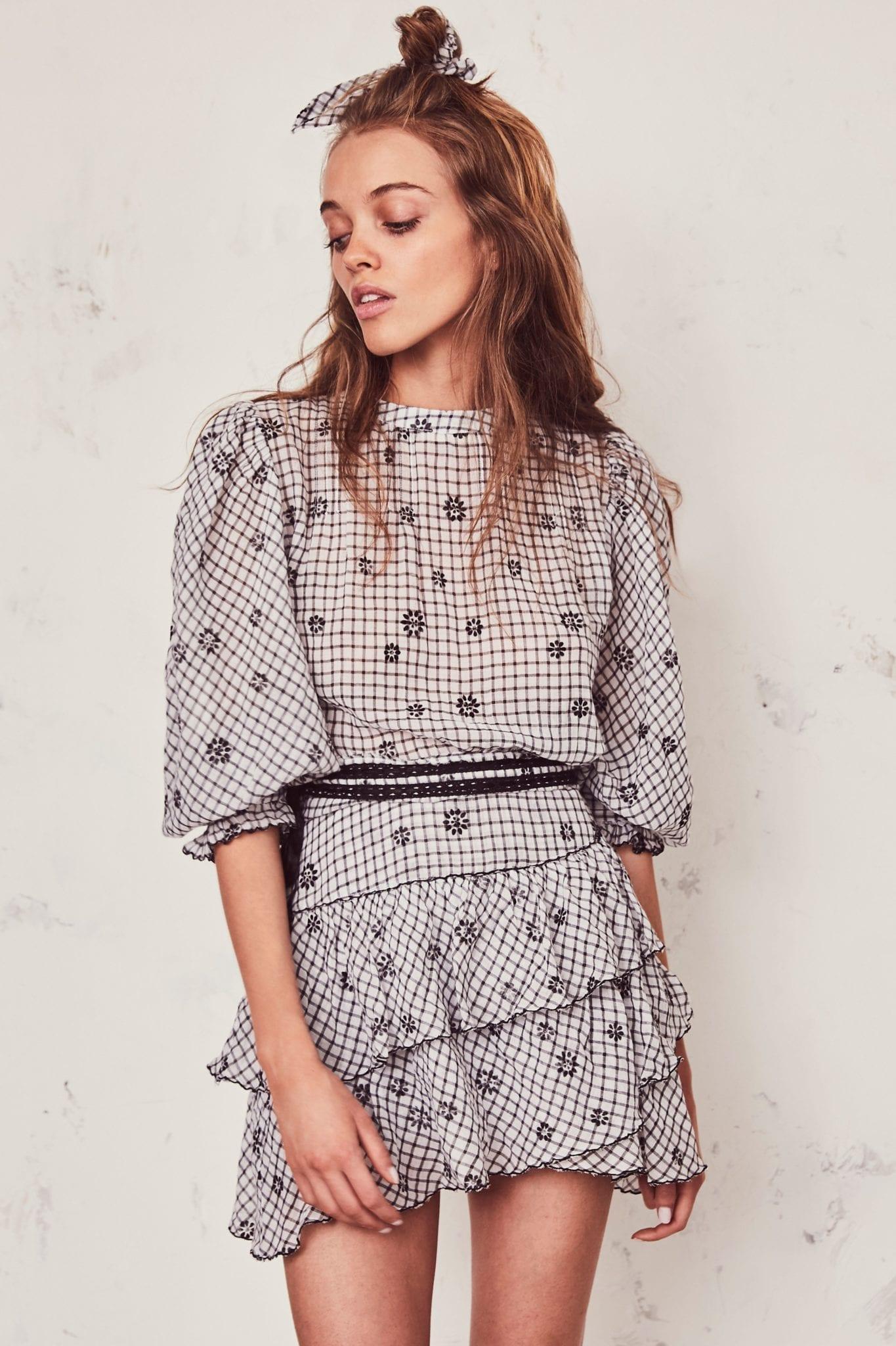 LOVESHACKFANCY Lorelei Charcoal Dress