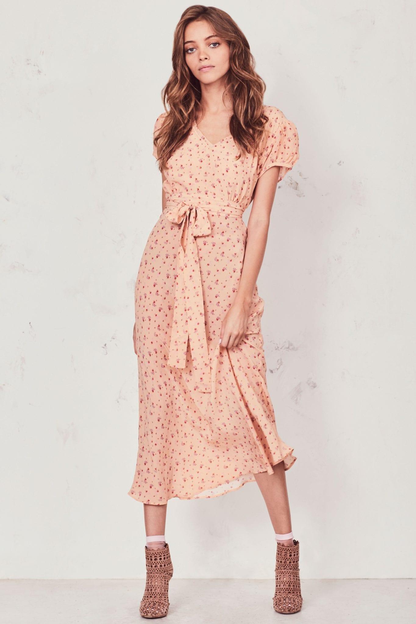 LOVESHACKFANCY Meg Midi Light Orange Dress