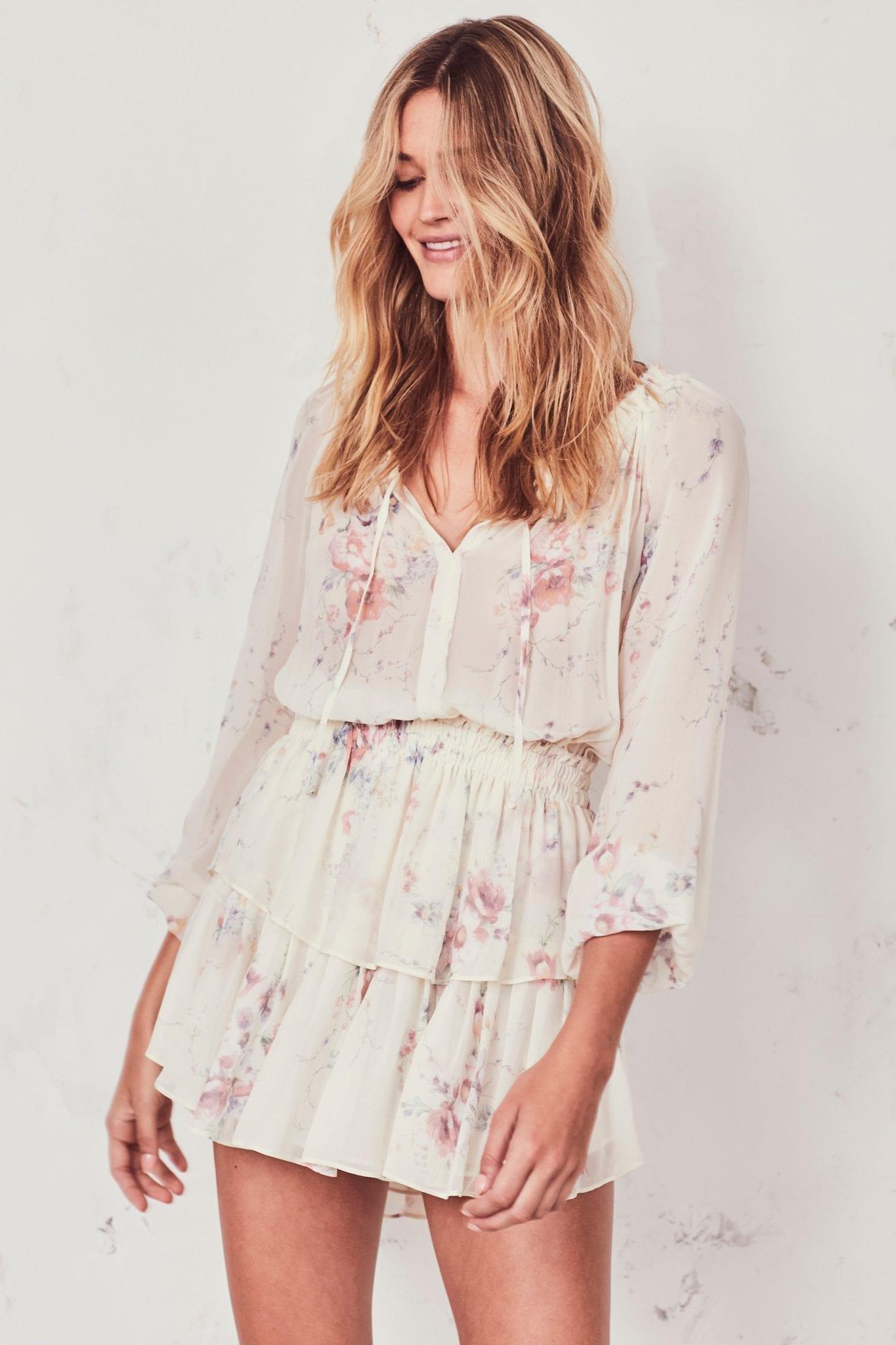 LOVESHACKFANCY Popover White / Floral Printed Dress