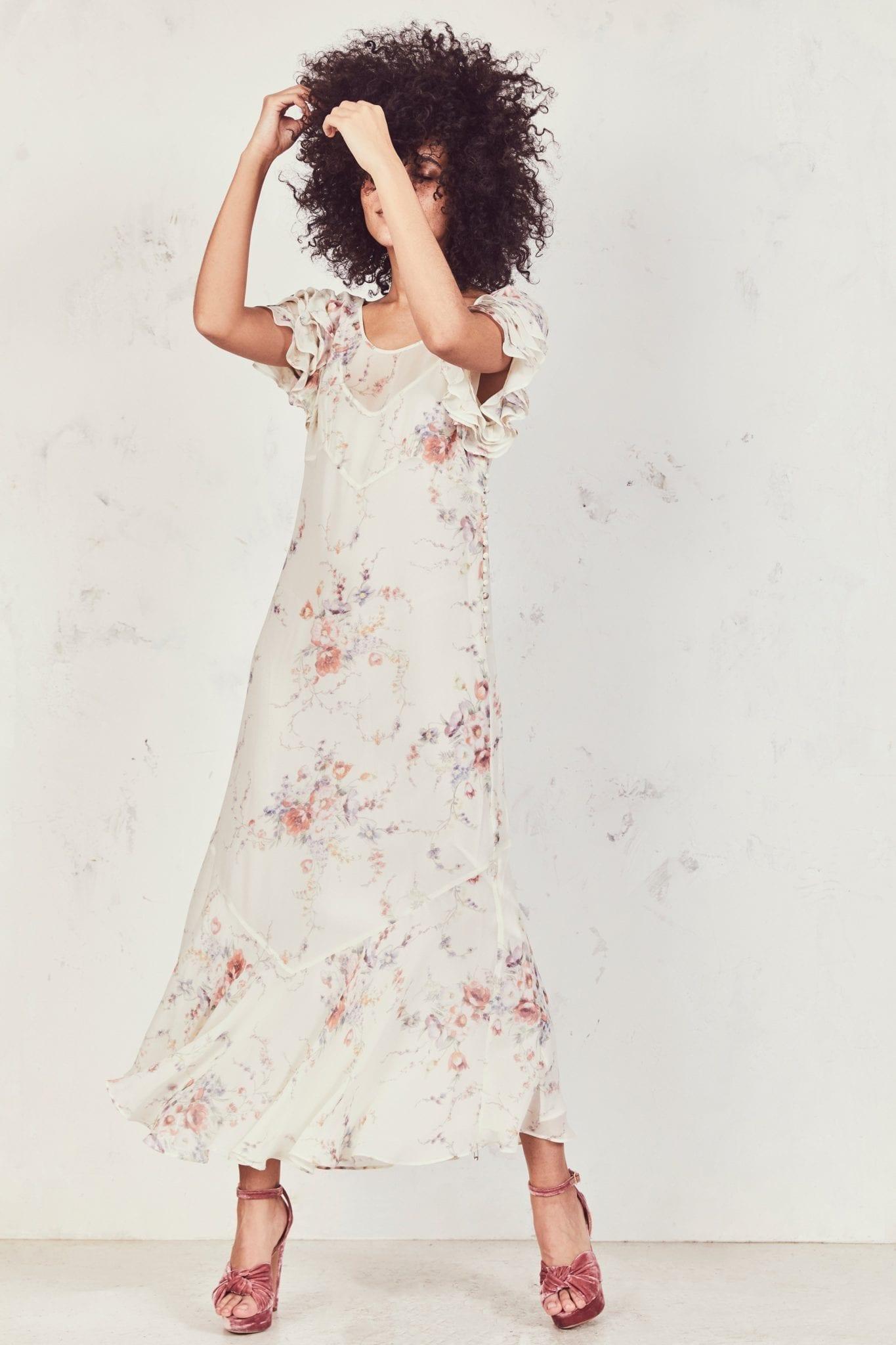 LOVESHACKFANCY Sloane White / Floral Printed Dress