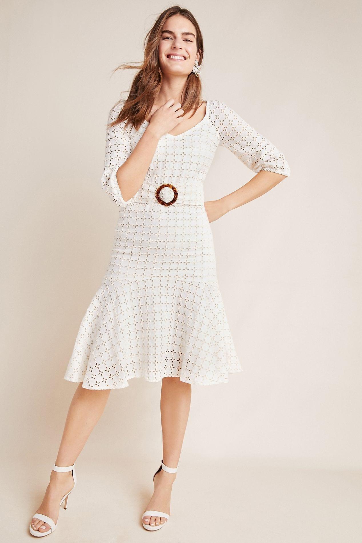 MAEVE Belted Eyelet White Dress