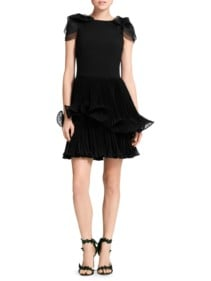 MARCHESA Crepe Organza Cocktail Black Dress