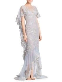 MARCHESA Metallic Corded Lace Ruffle Sleeve Platinum Gown
