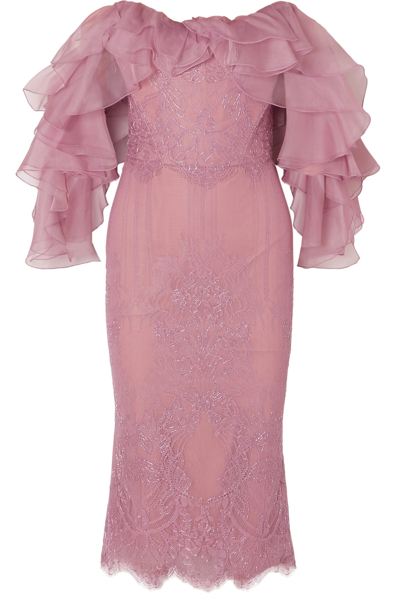 MARCHESA Off-the-shoulder Ruffled Corded Lace And Organza Lilac Dress