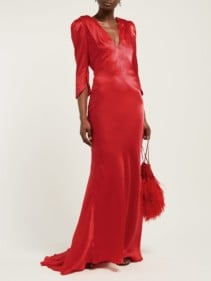 MARIA LUCIA HOHAN Derya Gathered-Shoulder Silk-Satin Maxi Red Dress
