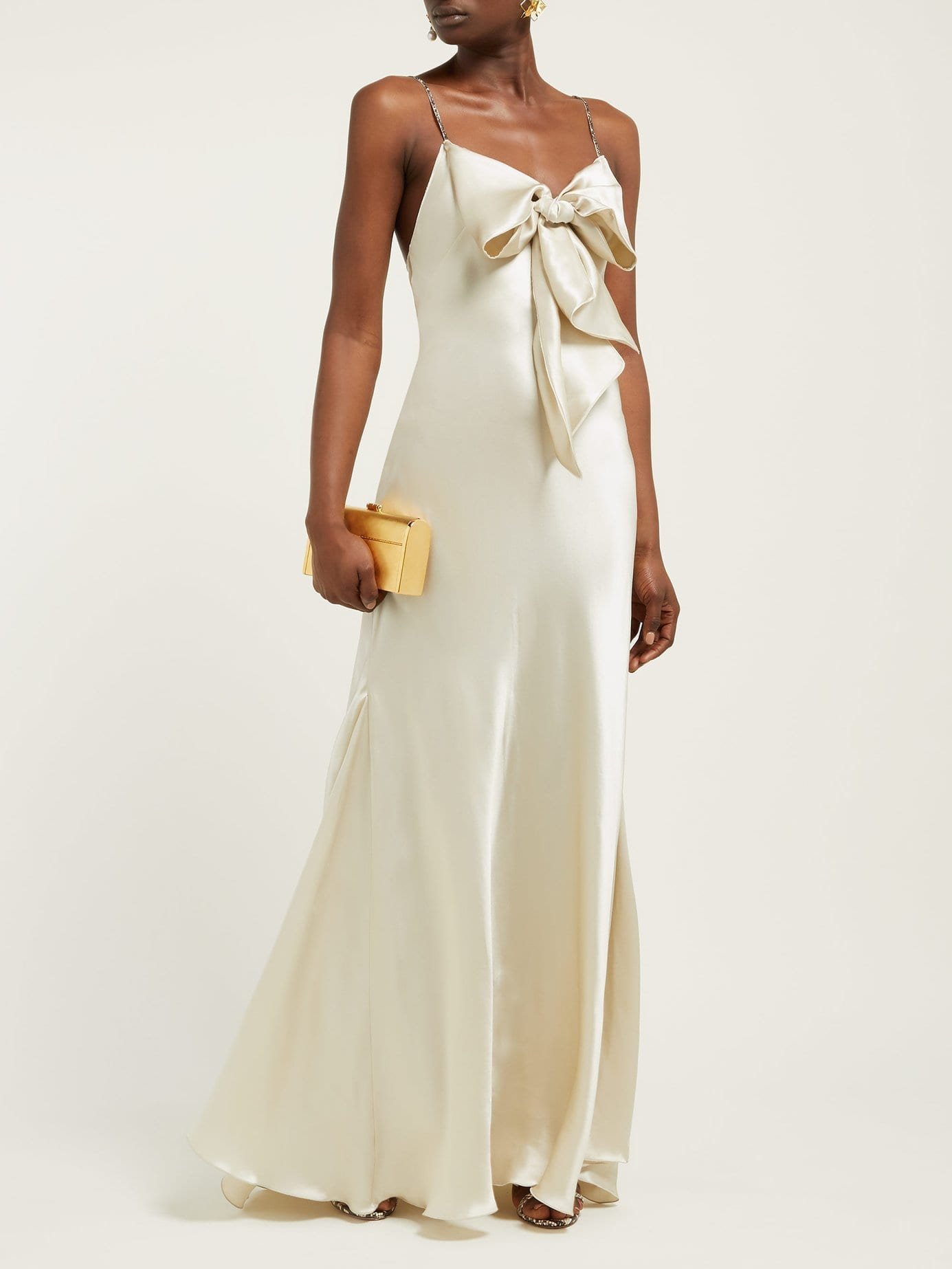 MARIA LUCIA HOHAN Ziya Bow-Embellished Silk-Satin Ivory Dress