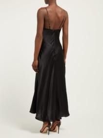 MARIA LUCIA HOHAN Ziya Bow-Embellished Silk-Satin Midi Black Dress