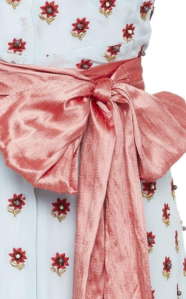 MARKARIAN Exclusive Bertram Floral-Embellished Silk-Faille Midi Blue Dress