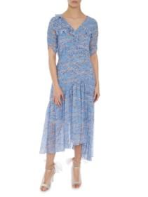 MARKUS LUPFER Nevada Pleat Ditzy Blossom Blue Dress