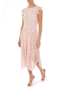 MARKUS LUPFER Sadie Pleated Abstract Animal Pink Dress