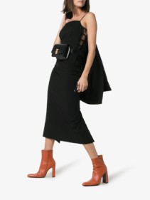 MATÉRIEL Side-tie Spaghetti Strap Black Dress