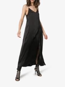 MATÉRIEL Split-front Silk-satin Slip Black Dress