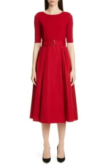 MAX MARA Affine Belted Midi Red Dress