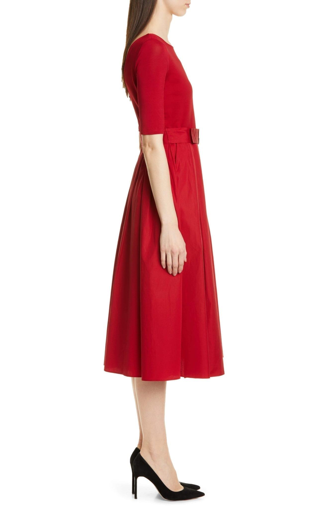 MAX MARA Affine Belted Midi Red Dress