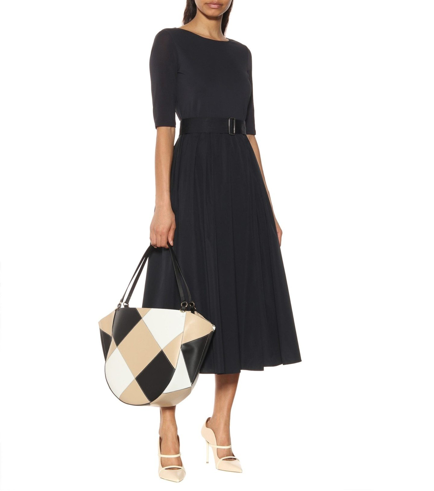 MAX MARA Affine Crêpe And Cotton Midi Black Dress