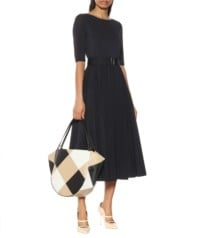 MAX MARA Affine Crêpe And Cotton Midi Black Dress