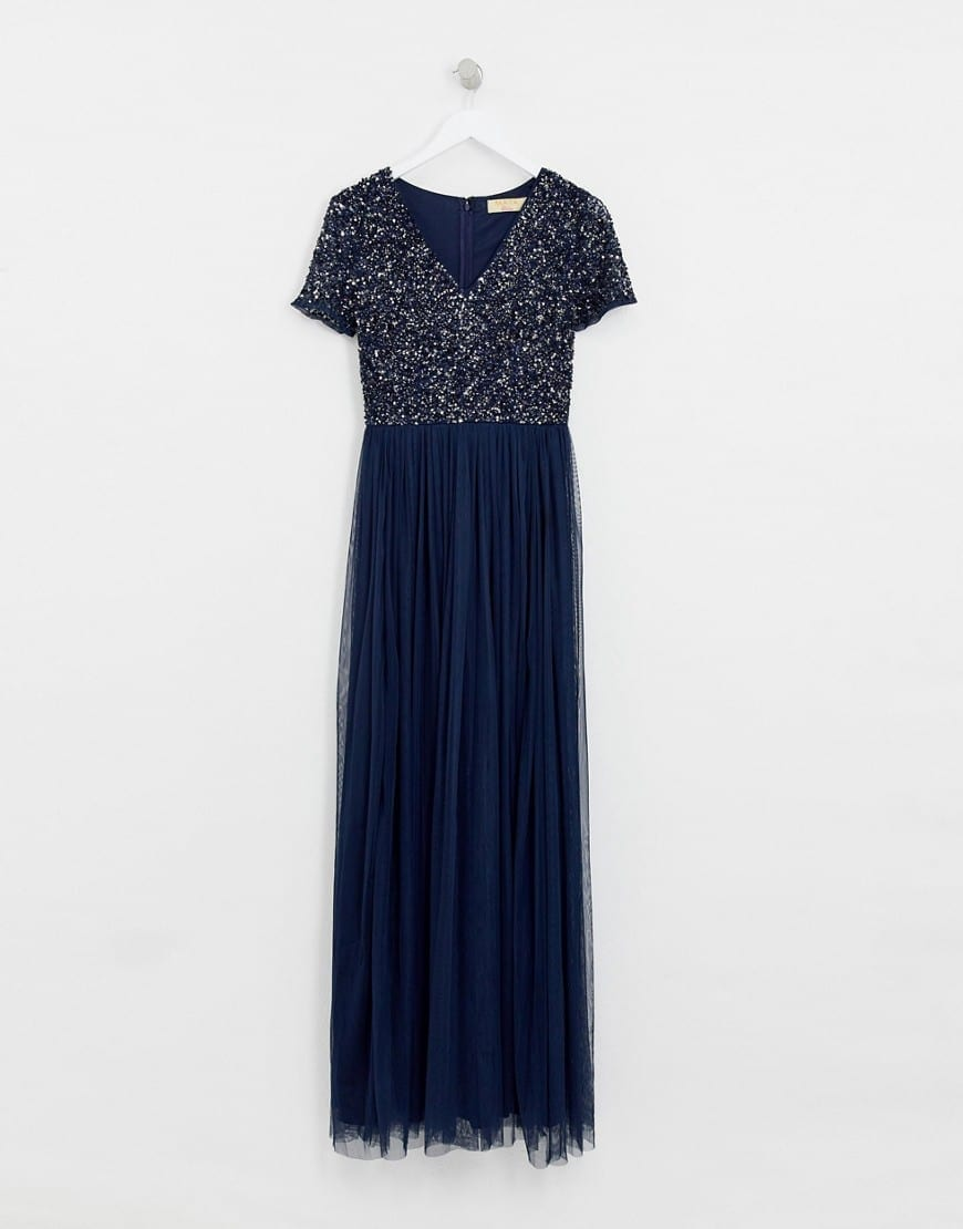 MAYA Bridesmaid V Neck Tonal Delicate Sequins Maxi Tulle Navy Dress