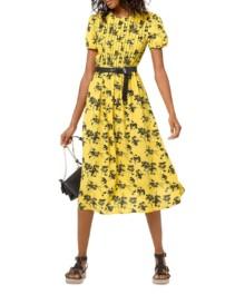MICHAEL MICHAEL KORS Botanical Pintucked Yellow / Black Dress