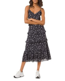 MICHAEL MICHAEL KORS Ruffle-Trimmed Midi Black / White Dress