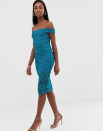MISSGUIDED TALL Lace Midi Bardot Teal Dress
