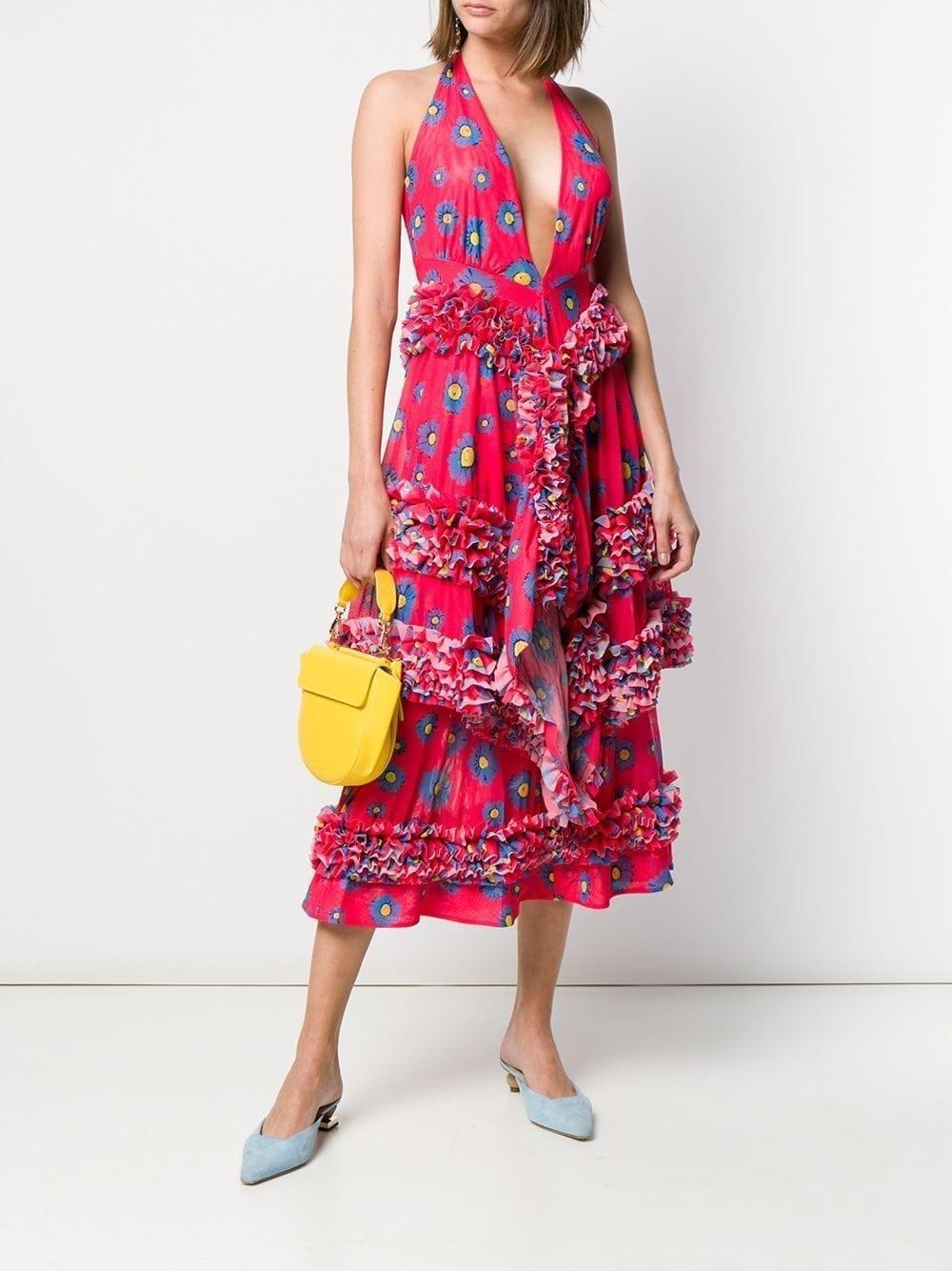 MOLLY GODDARD Daisy Print Ruffle Red Dress