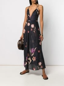NANUSHKA Deep-v Floral Black Dress