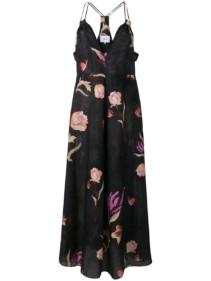 NANUSHKA Deep-v Floral Black Dress