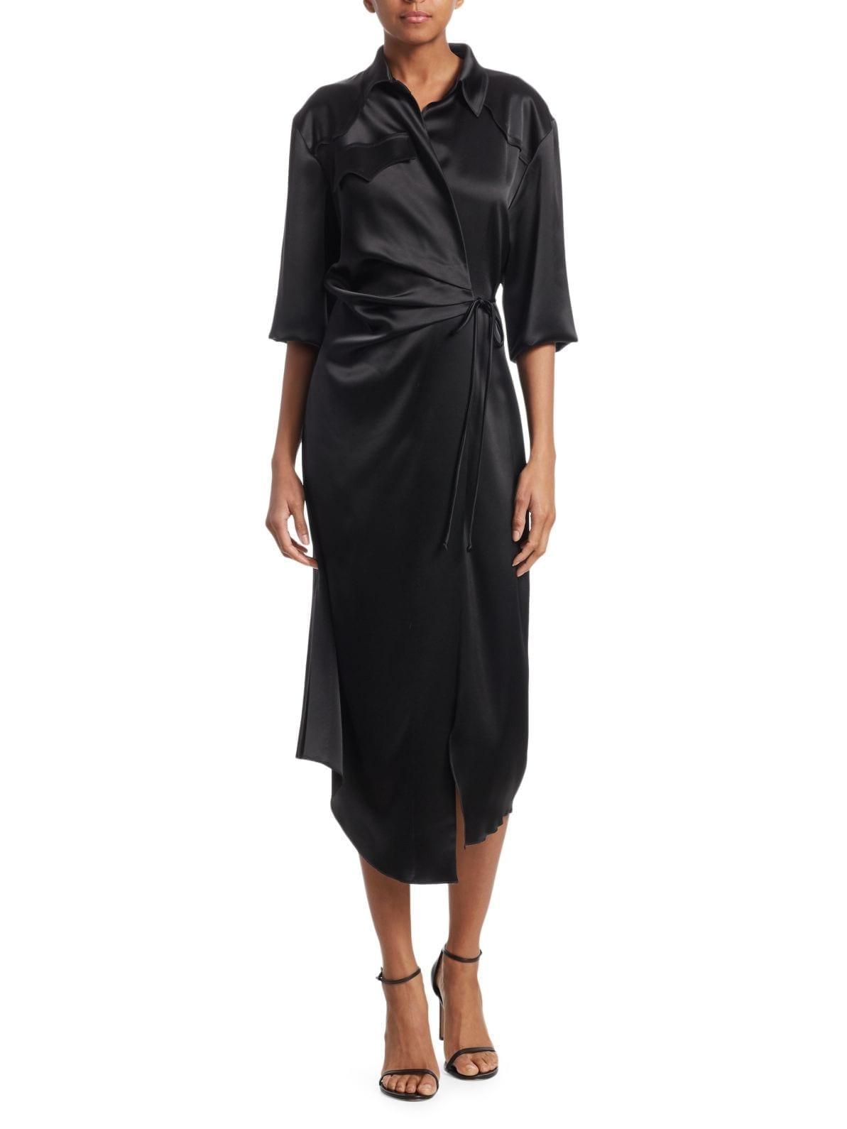 NANUSHKA Lais Satin Wrap Shirt Black dress