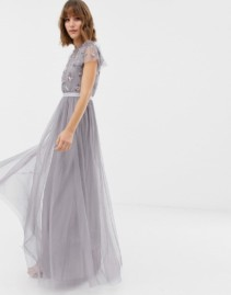 NEEDLE & THREAD Embellished Bodice Tulle Maxi Lavender Gown