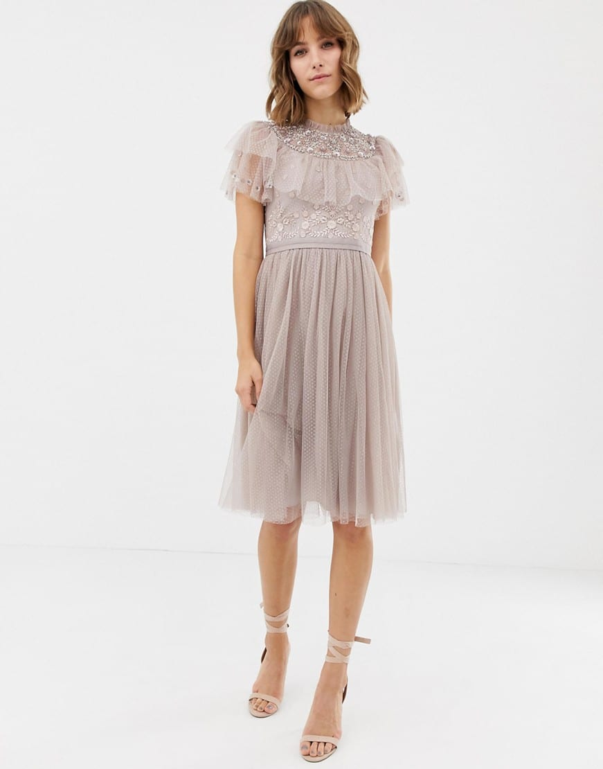NEEDLE & THREAD Embroidered Bodice Tulle Skater Pink Dress