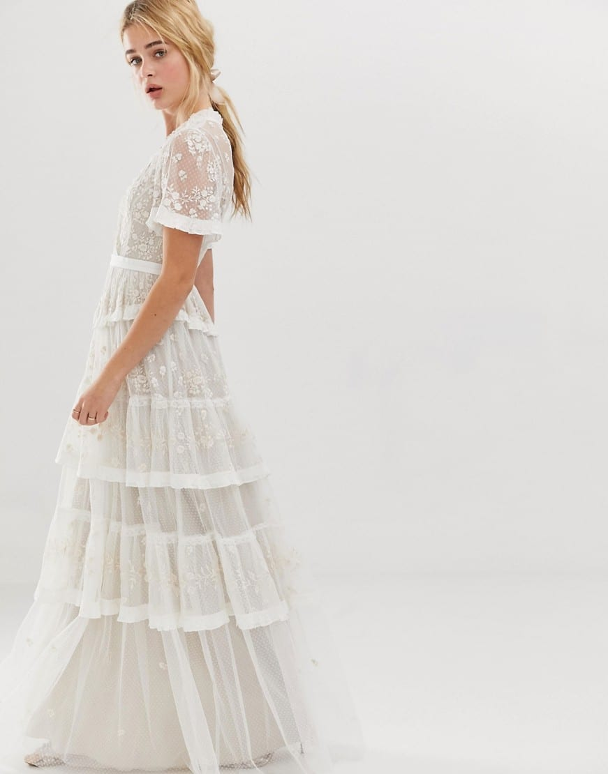 NEEDLE & THREAD Embroidered Lace Tiered Maxi Ivory Dress