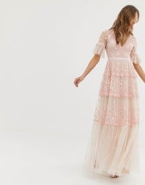 NEEDLE & THREAD Flutter Sleeve Embroidered Maxi Pink Dress