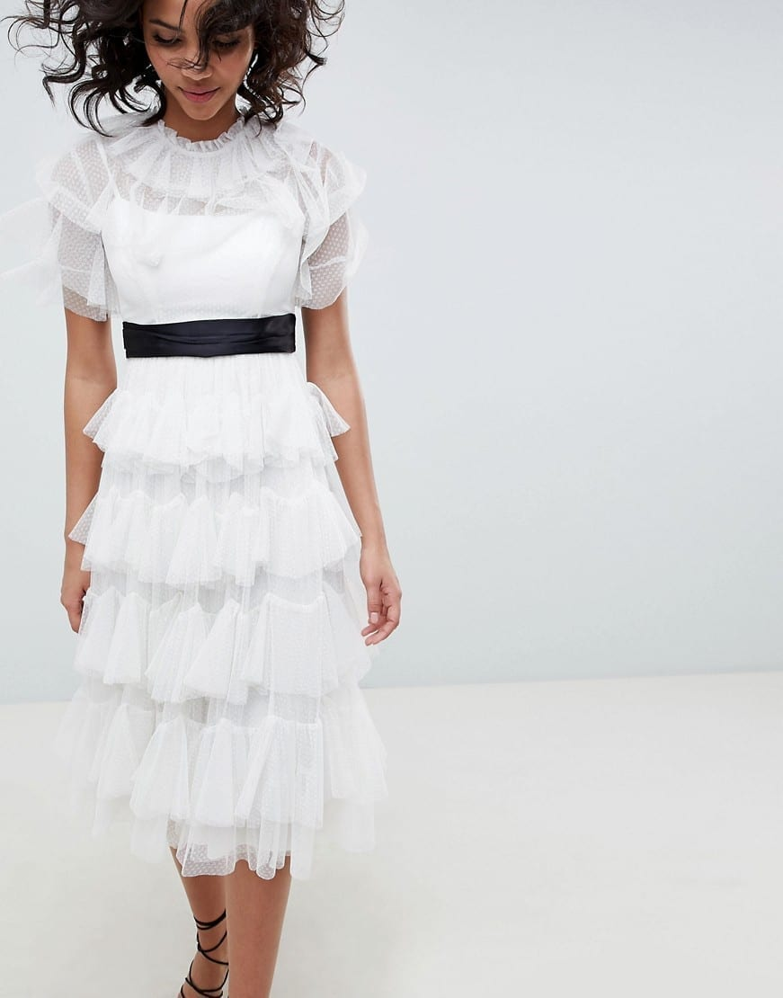 NEEDLE & THREAD Tiered Tulle Midi White Dress