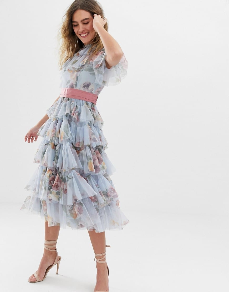 NEEDLE & THREAD Waistband Tulle Tiered Midi Blue / Floral Printed Dress