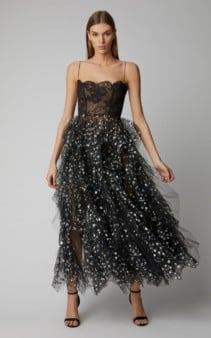 OSCAR DE LA RENTA Sequin-Embellished Lace And Tulle Midi Black Dress