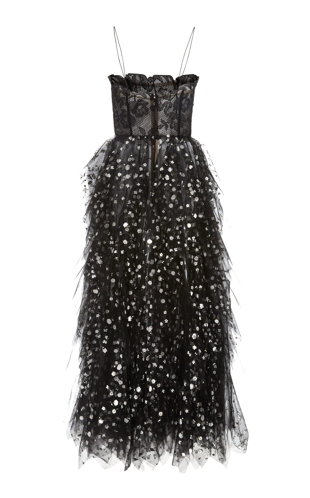 OSCAR DE LA RENTA Sequin-Embellished Lace And Tulle Midi Black Dress