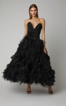 OSCAR DE LA RENTA Strapless Feather-Embellished Crepe Black Gown