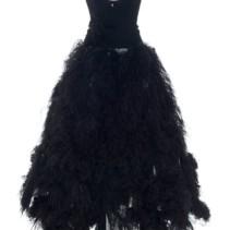 560f7305051c4 OSCAR DE LA RENTA Strapless Feather-Embellished Crepe Black Gown ...