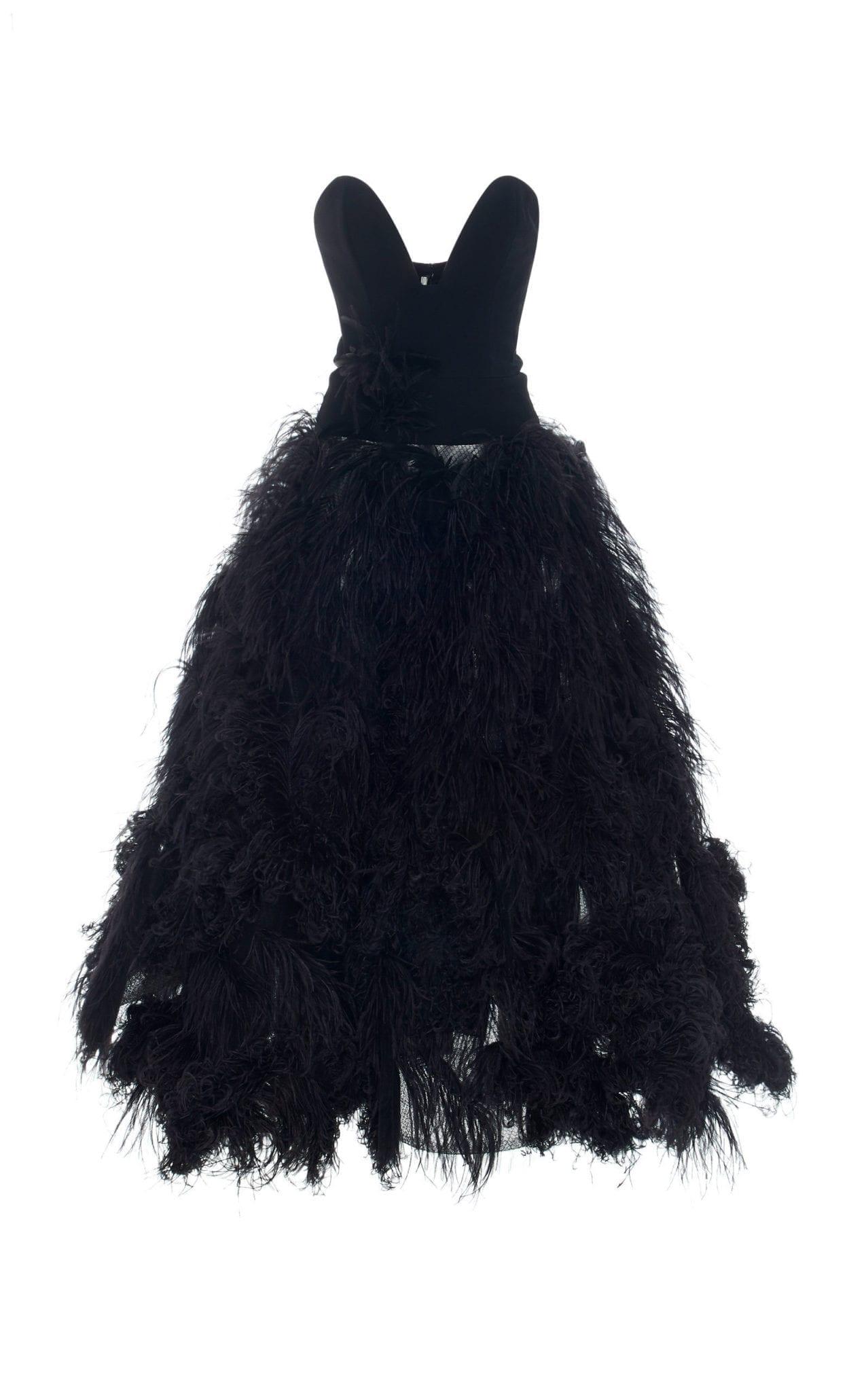 OSCAR DE LA RENTA Strapless Feather-Embellished Crepe Black Gown