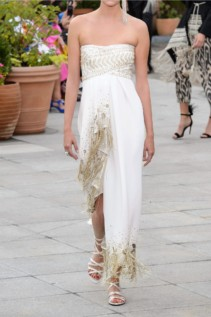OSCAR DE LA RENTA Strapless Fringed Embellished Cady And Lamé White Gown