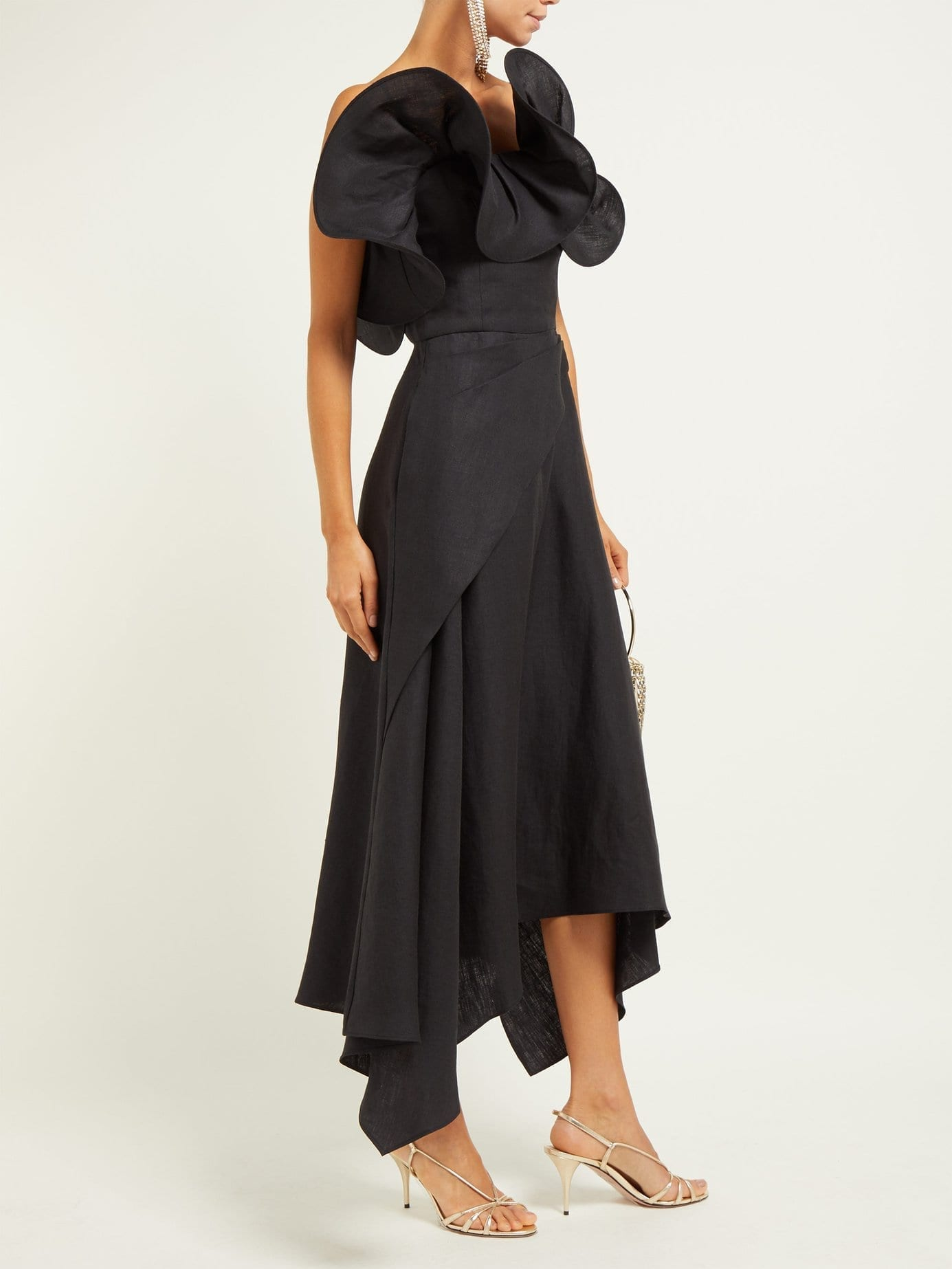 OSMAN Julie Ruffle-Bodice Linen Midi Black Dress