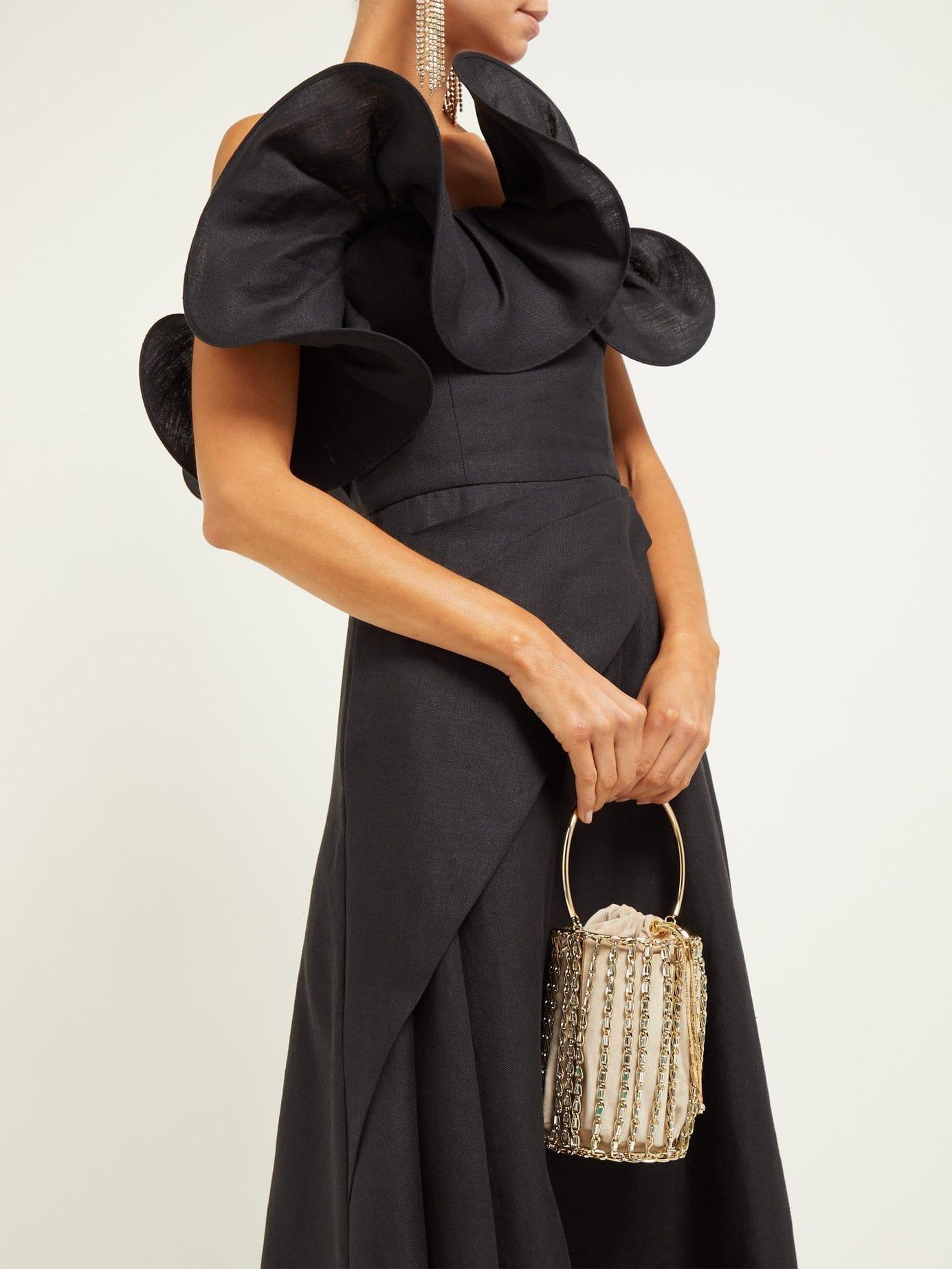 OSMAN Julie Ruffle-Bodice Linen Midi Black Dress