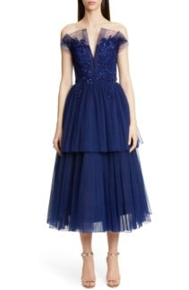 PAMELLA ROLAND Strapless Beaded Tulle Midi Navy Dress