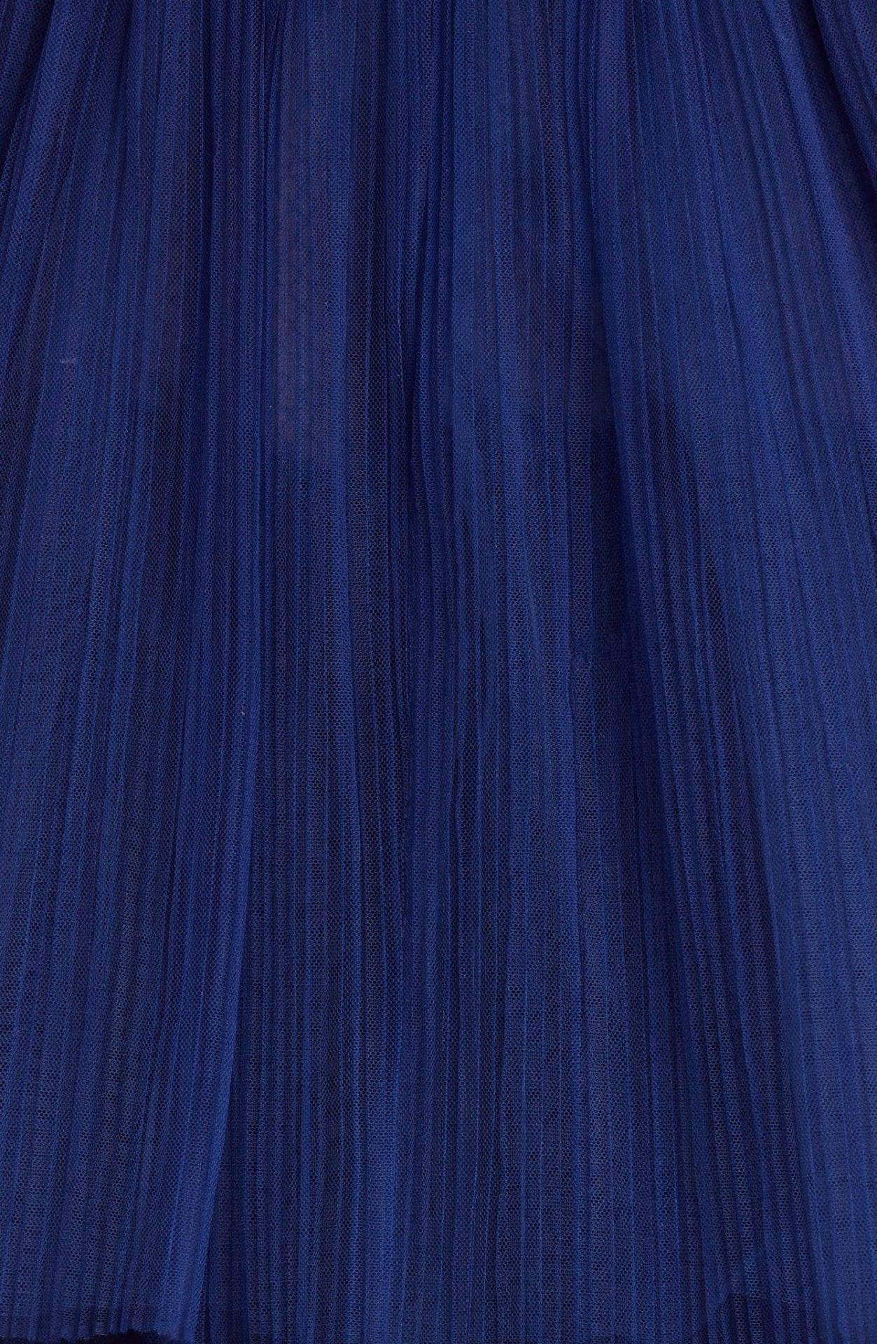 PAMELLA ROLAND Strapless Beaded Tulle Midi Navy Dress