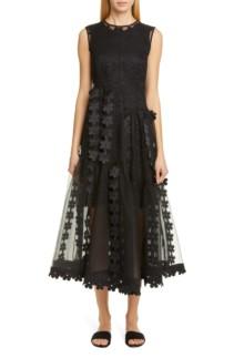 PASKAL Double Layer Cascade Organza Midi Black Dress