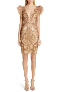 PATBO Feather Trim Beaded Mini Gold Dress