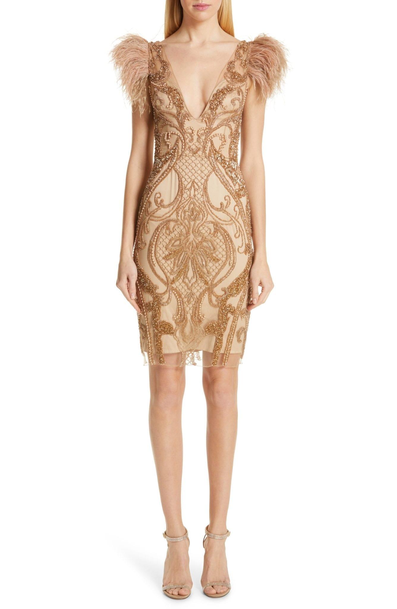 PATBO Feather Trim Beaded Mini Gold Dress