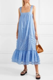 PAUL & JOE Ruffled Lace-Trimmed Cotton-Voile Blue Dress